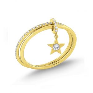 14k Gold and Diamond Star Charm Ring