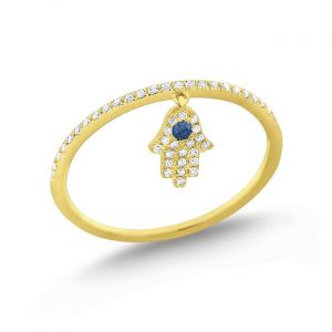 14k Gold Diamond and Blue Sapphire Hamsa Charm Ring