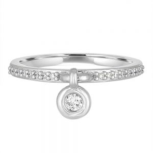 14K Elements Bezel Diamond Charm Ring