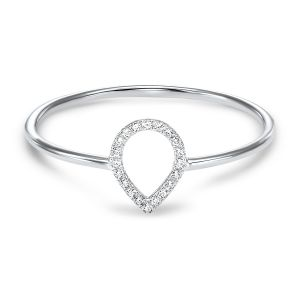 14K White Gold Open Pear Shaped Diamond Ring