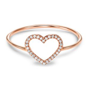 14K Rose Gold Open Heart Shape Diamond Ring