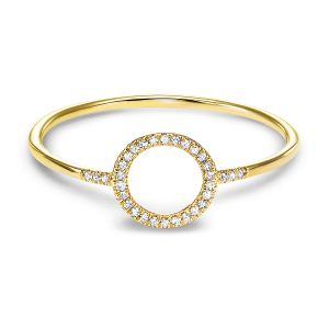 14K Yellow Gold Open Oval Diamond Ring
