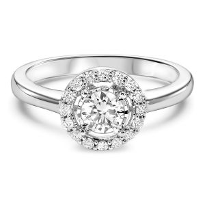 14K Fluted Classic Round Halo Diamond Ring, 0.5cttw