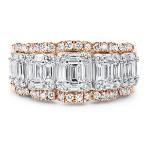 14K White Gold Two Toned Baguette + Round Diamond Ring