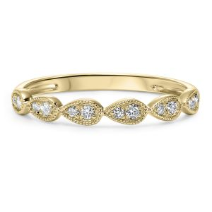 Milgrain Teardrop Yellow Gold Diamond Stack Ring