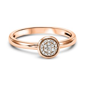 Pave Diamond Disc Rose Gold Stack Ring