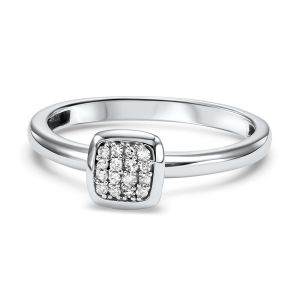 Pave Diamond Square White Gold Stack Ring