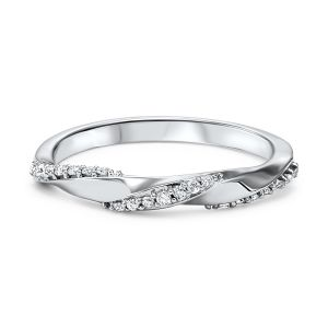 Twisted Diamond White Gold Stack Ring