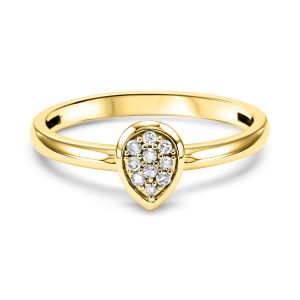 Pave Diamond Teardrop Yellow Gold Stack Ring
