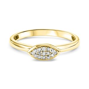 Pave Diamond Marquise Yellow Gold Stack Ring