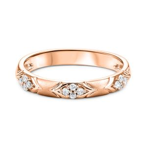 Rosette Chevron Rose Gold Diamond Stack Ring