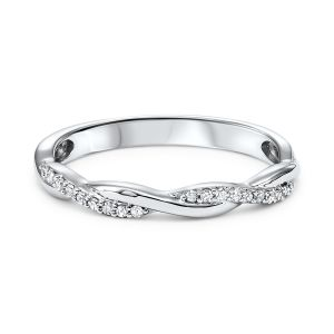 Intertwining Twist White Gold Diamond Stack Ring