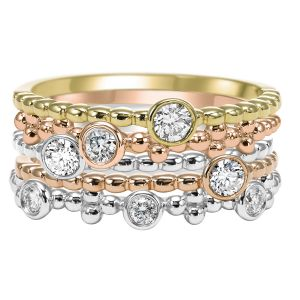 14K Tri Gold Five Stack Diamond Rings