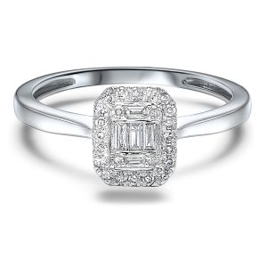 14K White Gold Baguette + Round Halo Diamond Ring