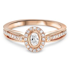 14K Rose Gold Oval Halo Diamond Ring