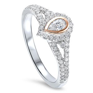 14K White Gold Pear Shaped Diamond Ring