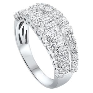 14K White Gold Three Row Round + Baguette Diamond Band