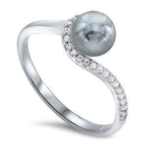 Sterling Silver Dyed Black Pearl Ring