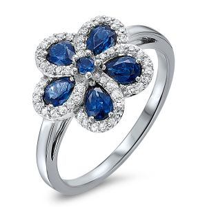 14K White Gold Sapphire + Diamond Flower Ring