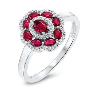 14K Floral Motif Ruby + Diamond Ring