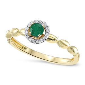 Yellow Gold Round Emerald + Diamond Ring