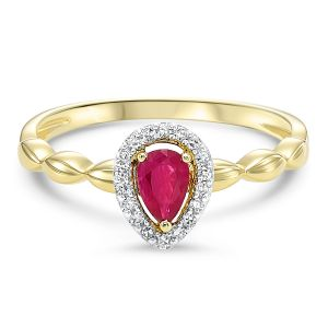 Charming Pear Shaped Ruby + Diamond Halo Ring