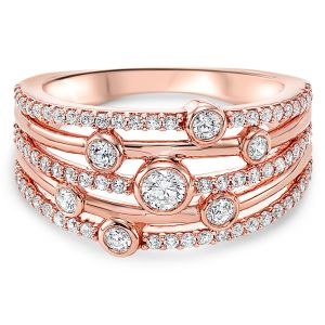 14K Rose Gold Five Row Diamond Ring