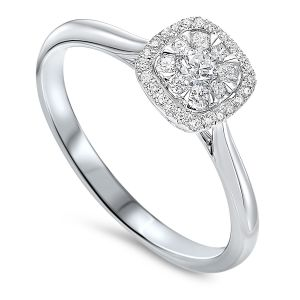 14K White Gold Cushion Shaped Diamond Ring