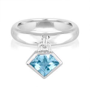 14K Metropolis Blue Topaz Power Charm Ring