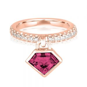 14K Metropolis Rhodolite Diamond Power Charm Ring