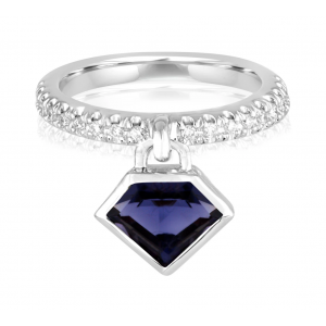 14K Metropolis Iolite Diamond Power Charm Ring