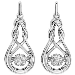 Sterling Silver Diamond Rhythm Of Love Earrings
