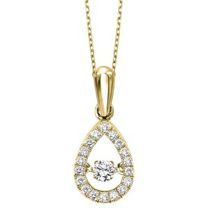 10K Teardrop Rhythm Of Love Diamond Pendant