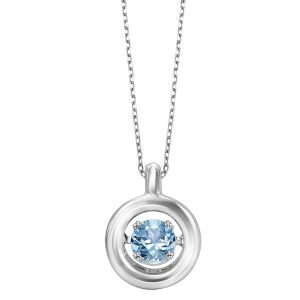 Minimalist Polished Circle Genuine Blue Topaz Pendant