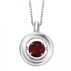 Minimalist Polished Circle Genuine Garnet Pendant