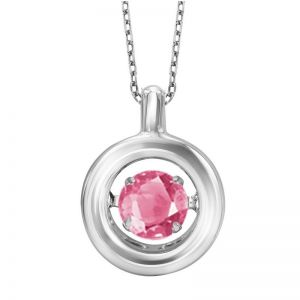 Minimalist Polished Circle Genuine Pink Tourmaline Pendant