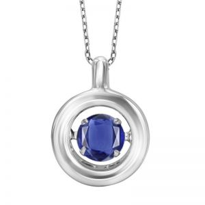 Minimalist Polished Circle Genuine Sapphire Pendant