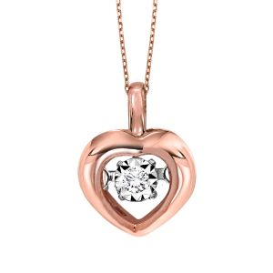 10K Polished Heart Rhythm Of Love Diamond Pendant