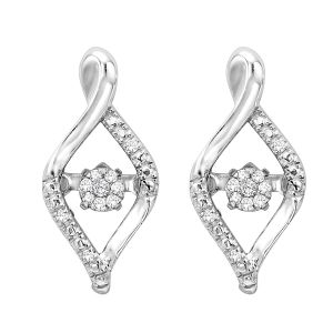 Sterling Silver Ribbon Diamond Rhythm Of Love Earrings