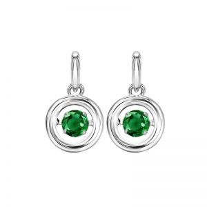Sterling Silver Rhythm of Love Genuine Emerald Earrings