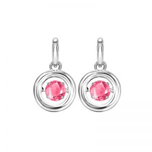 Sterling Silver Rhythm of Love Genuine Pink Tourmaline Earrings