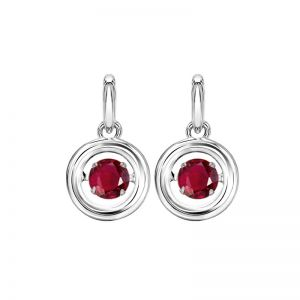 Sterling Silver Rhythm of Love Genuine Ruby Earrings