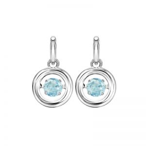 Sterling Silver Rhythm of Love Genuine White Topaz Earrings