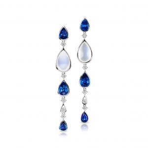 Sapphire and Moonstone Linear Drop Earring