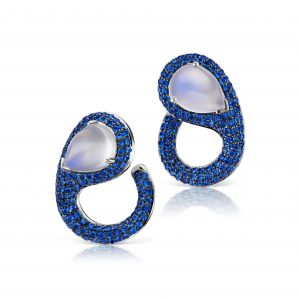 Sapphire and Moonstone Post Earring
