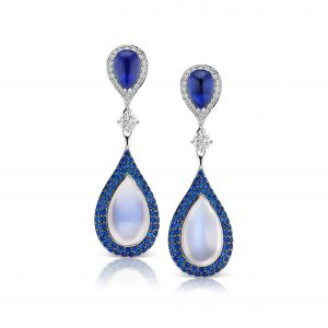 Sapphire and Moonstone Teardrop Drop Earring