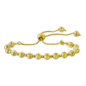 Yellow Gold Beaded Bolo Bracelet