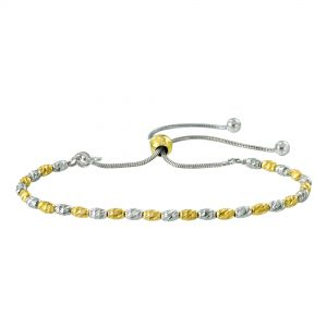 Two-Tone Sterling Silver Beaded Bolo Bracelet