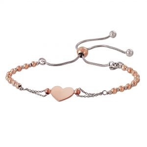 Two-Tone Sterling Silver Beaded Polished Heart Bolo Bracelet