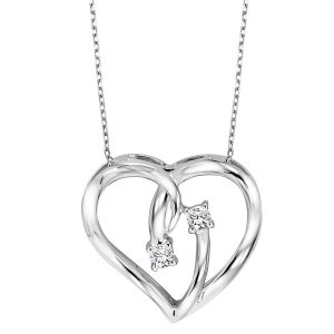 Sterling Silver Two Diamond Bypass Heart Pendant